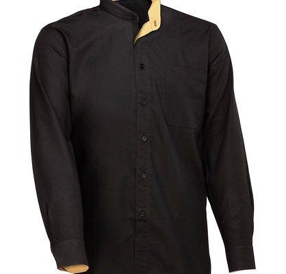 cd6266c088b Camisa caballero manga larga, cuello mao combinada, cuello, vistas y ...